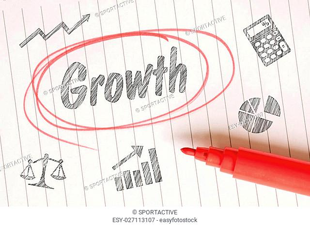 Growth note with sketches on linear paper