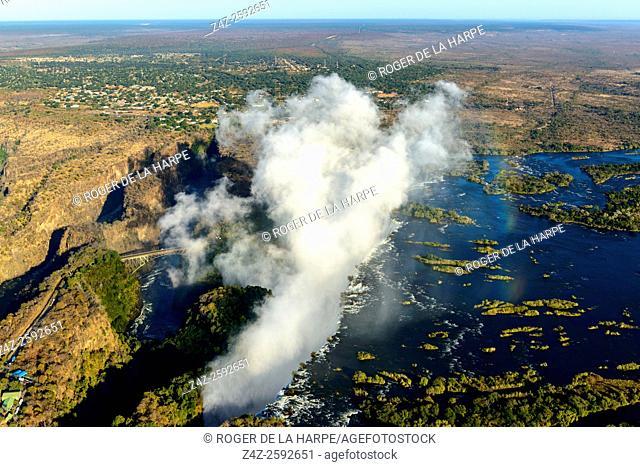 Aerial view of Zambezi River Batoka Gorge and Victoria Falls. Livingstone. Zambia