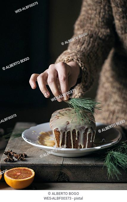 Woman's hands decorating Christmas cake