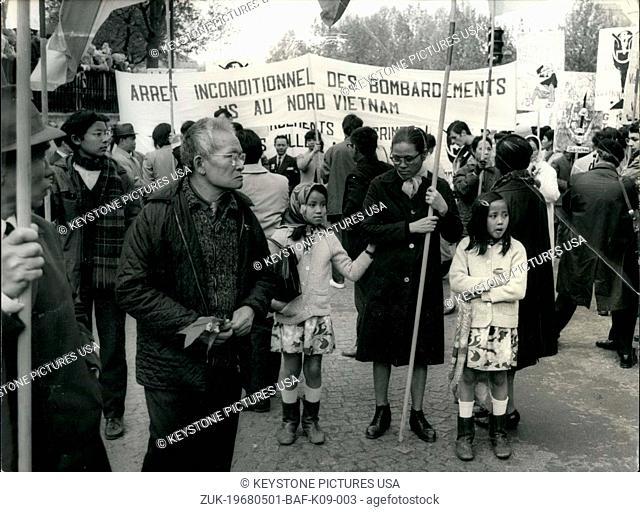 May 01, 1968 - Vietnamese Parisians Gather at the Bastille to Protest Bombing (Credit Image: © Keystone Press Agency/Keystone USA via ZUMAPRESS.com)