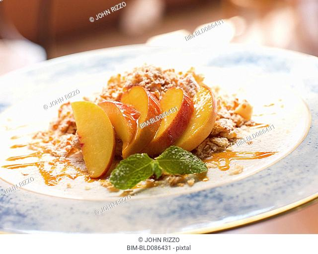 Dessert of peach semifreddo amarone