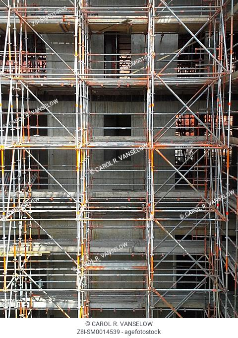 Scaffolding on construction site at the Maankwartier in Heerlen, in the Limburg province of the Netherlands