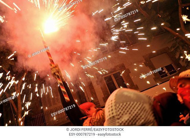 Fire Demons is a catalan tradition named Diables or Correfoc, Sant Feliu de Guixols, Costa Brava, Girona, Catalonia, Spain, Europe