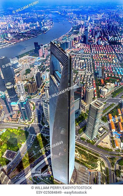 Looking Down on Black Shanghai World Financial Center Skyscraper Huangpu River Cityscape Liujiashui Financial District Shanghai China
