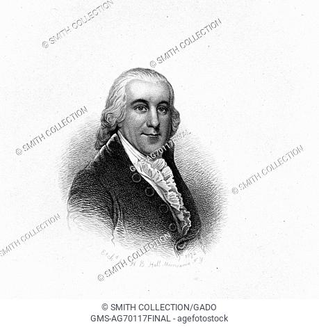 An etching from a portrait of Edward Rutledge, an American lawyer and politician, South Carolina, 1830. From the New York Public Library