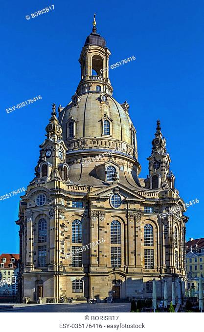 The Frauenkirche is a Lutheran church in Dresden, Saxony, Germany. It is considered an outstanding example of Protestant sacred architecture