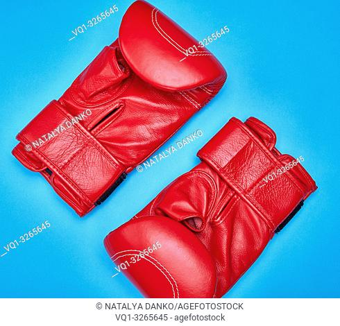 pair of red leather boxing gloves on a blue background, top view