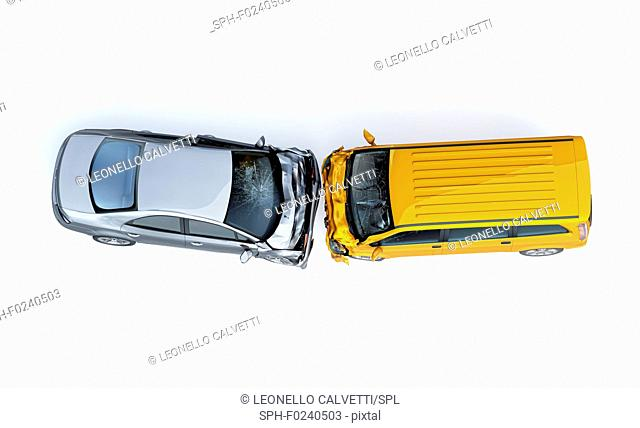 Two cars accident. Crashed cars. A yellow van against a silver sedan. Big damage. Isolated on white background. Viewed from the top