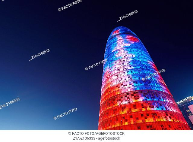 "Torre Agbar, corporate headquarters of the water company """"Aguas de Barcelona"""", by architect Jean Nouvel. Barcelona. Catalonia. Spain"