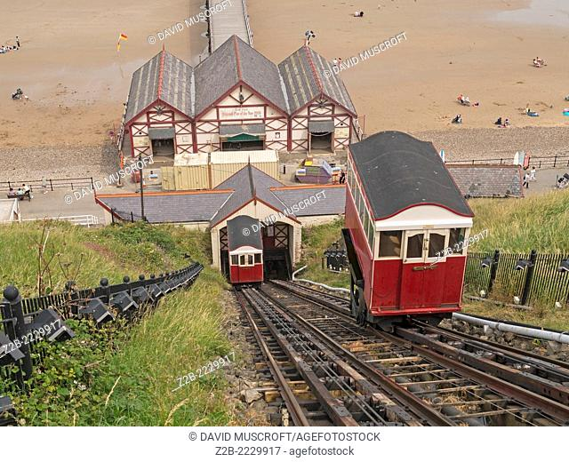 The water-driven passenger carrying tramway up the cliffs at Saltburn, North Yorkshire coast, UK