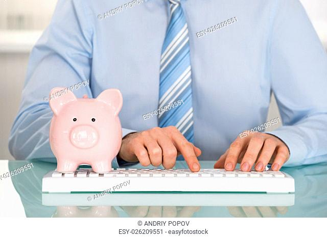Close-up Of A Businessman With Piggyback Using Keyboard
