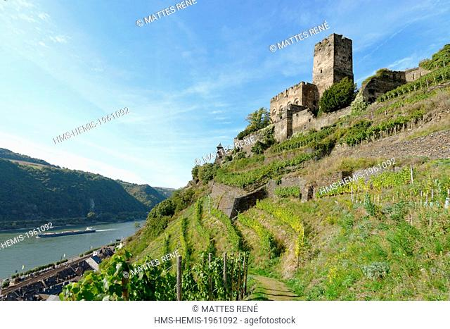 Germany, Rhineland Palatinate, Kaub, (Burg) Gutenfels castle, the romantic Rhine listed as World Heritage by UNESCO
