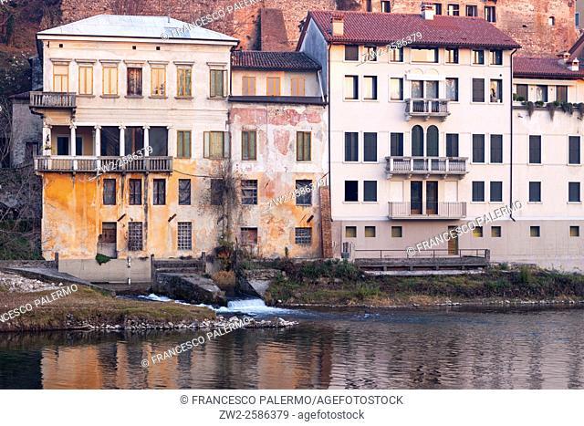 River landscape of the city. Bassano DG, Veneto. Italy