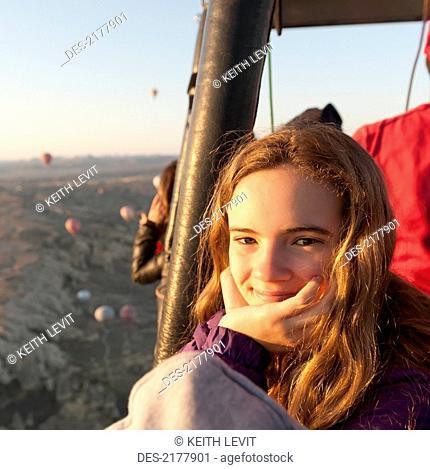 Portrait Of A Girl In A Hot Air Balloon, Goreme Nevsehir Turkey
