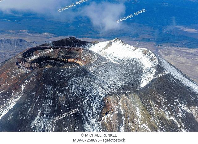 Aerial of the crater of Mount Ngauruhoe, Tongariro National Park, North Island, New Zealand