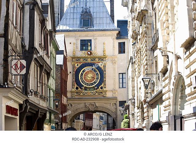 Clock tower Gros Horloge, Rouen, Haute-Normandie, France