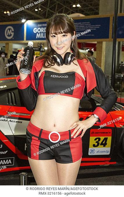 January 11, 2019, Chiba, Japan - A booth assistant poses for a photograph during the Tokyo Auto Salon 2019 at Makuhari Messe International Convention Complex