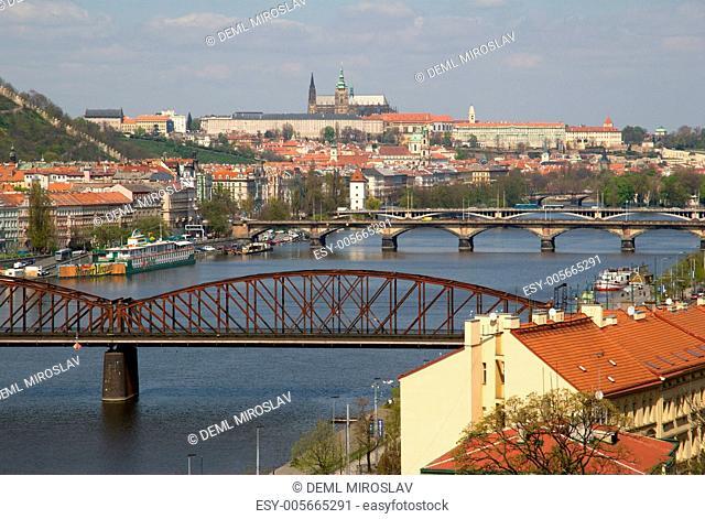 Czech Republic, Prague, Prague castle and Prague bridges from Vysehrad