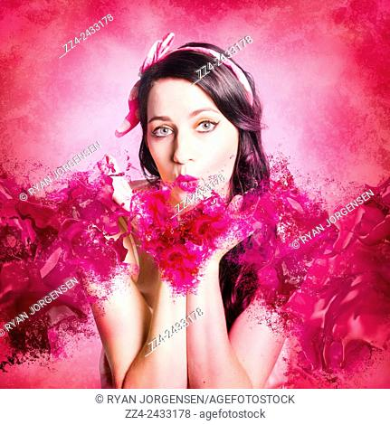 Artistic fine artwork of an attractive pinup woman blowing paint splash kisses in pink valentines day style. With love and hearts