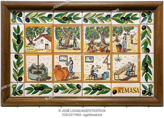 Tile about the elaboration of the olive oil, Hacienda La Laguna, Puente del Obispo-Baeza, Jaen province, Region of Andalusia, Spain, Europe