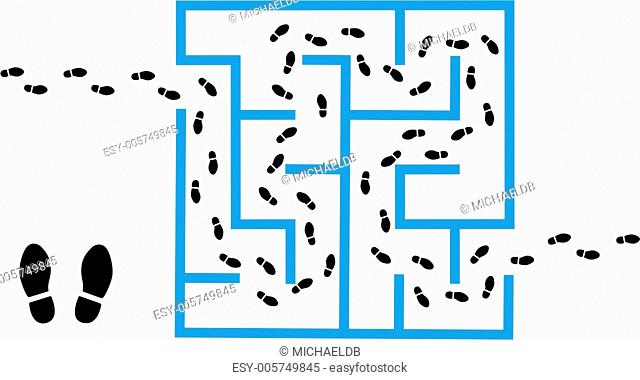 Footprints find solution through maze puzzle
