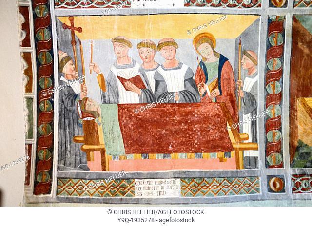Fresco of Saint Sebastian on his Death Bed Chapel of Saint Sebastian (1513) Roubion Tinée Valley Alpes-Maritimes France