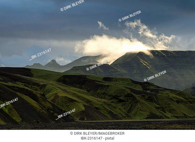 Evening light, mountains covered with moss, South Coast, Iceland, Europe