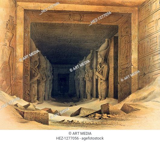 'Interior of the Temple of Abou Simbel', Egypt, 1842-1845. View inside the temple of Abu Simbel built by Rameses II showing some of the colossal statues