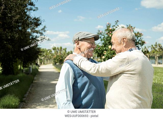 Two happy old men standing face to face in the park