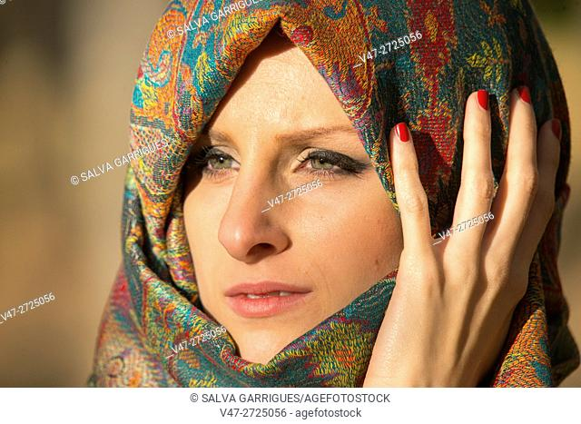 Portrait of a woman covering her head with a scarf, Alboy, Genoves, Valencia, Spain, Europe