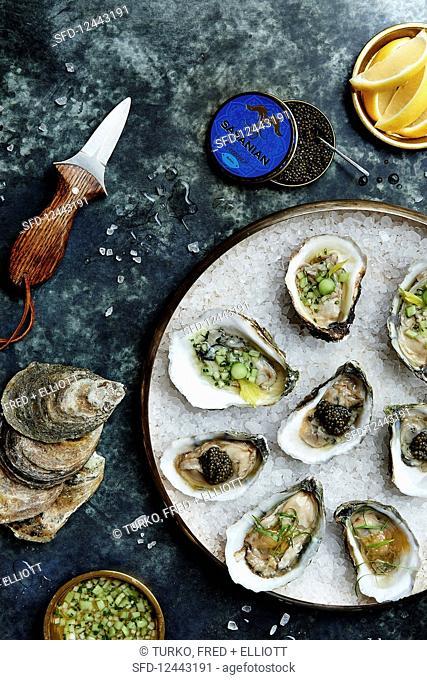 Oysters with caviar, cucumber relish, and grapefruit granita