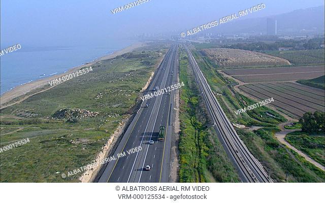 Aerial Highway along coastline