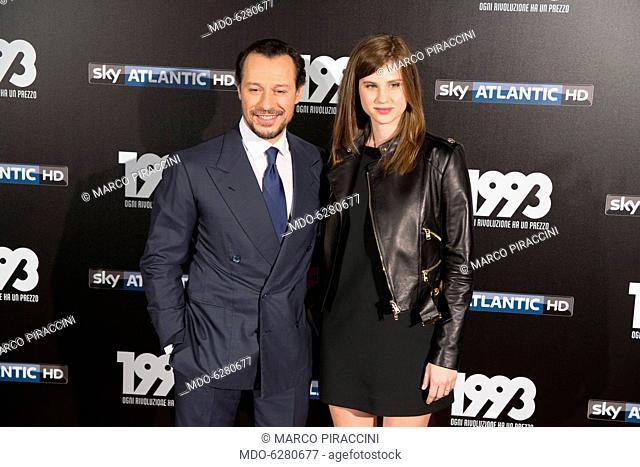Italian actor Stefano Accorsi and his wife Bianca Vitali attend the tv fiction premiere 1993 by Sky Tv at Spacecinema Odeon. Milan, May 11th, 2017