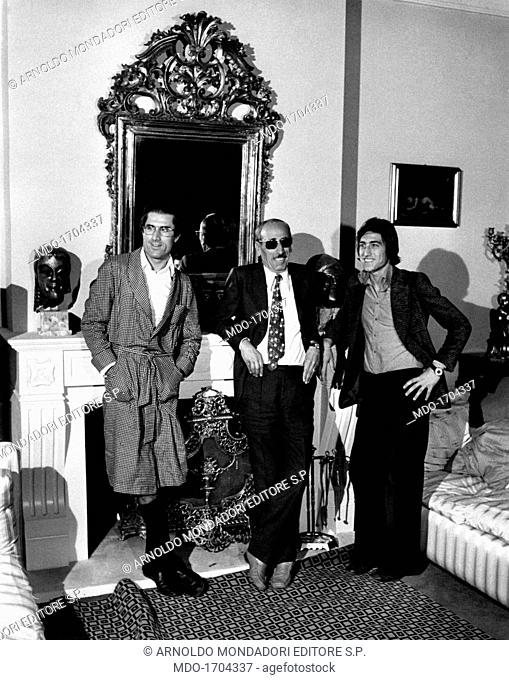 Lando Buzzanca with his brother Salvo and his father Empedocle. The Italian actor Lando Buzzanca on the set of the film Nonostante le apparenze