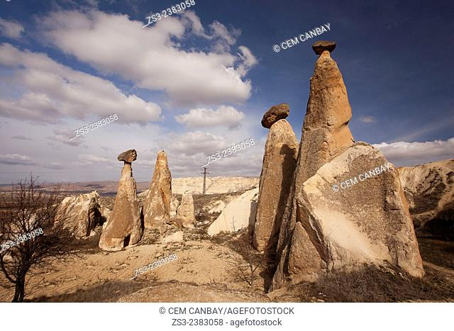 Fairy chimneys in Cavusin, Cappadocia Region, Nevsehir, Central Anatolia,Turkey, Europe