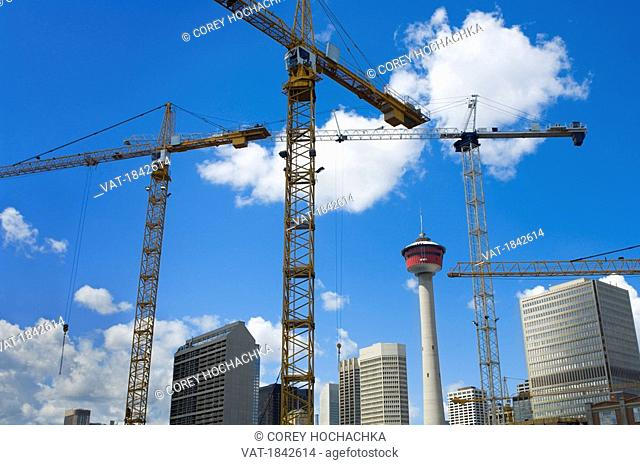 Calgary, Alberta, Canada, Downtown office towers under construction with Calgary Tower in background