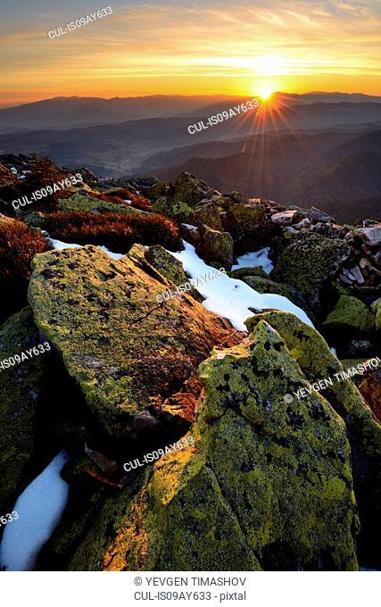 Gorgany Mountain Ridge, views from Khomyak mountain, Carpathian Mountains, Ivano-Frankovsk Region, Ukraine