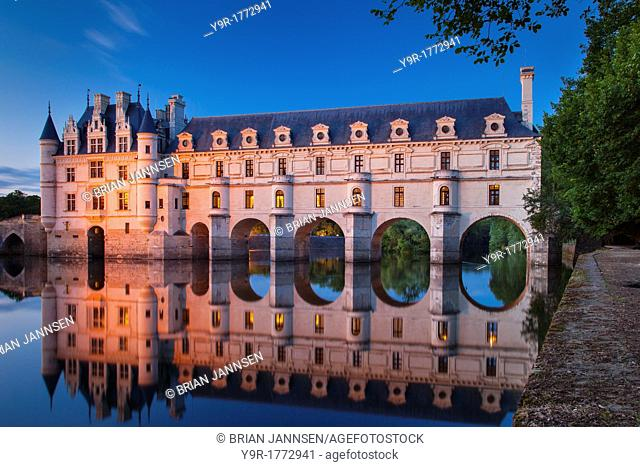 Twilight over Chateau Chenonceau and River Cher, Indre-et-Loire, Centre France