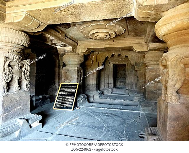 Cave 33 : Central Cave : Main Hall and Shrine The Hall consists of elaborately carved pillars. A lotus medallion is seen on the ceiling The shrine has a seated...