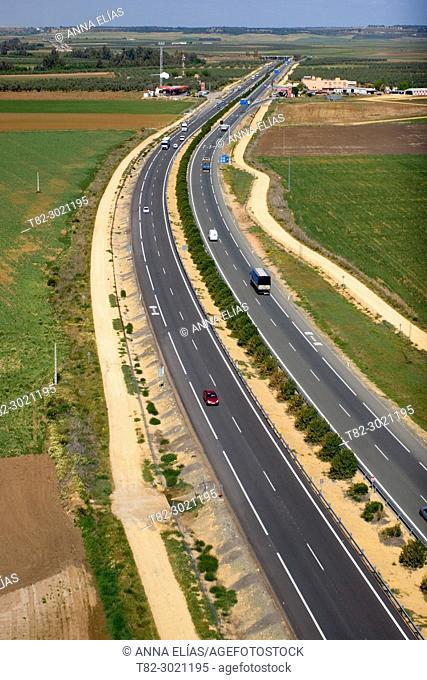 aerial view Arahal and motorway A-40 Sevilla Andalucia, Spain Europe