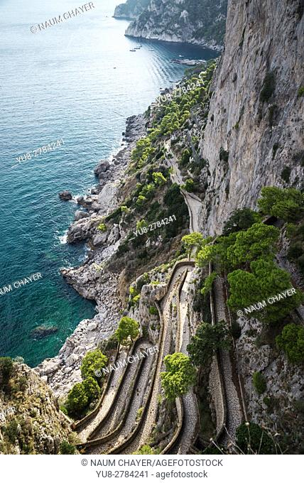 Via Krupp , historic switchback paved footpath on the island of Capri, an island, Bay of Naples, Italy, Europe