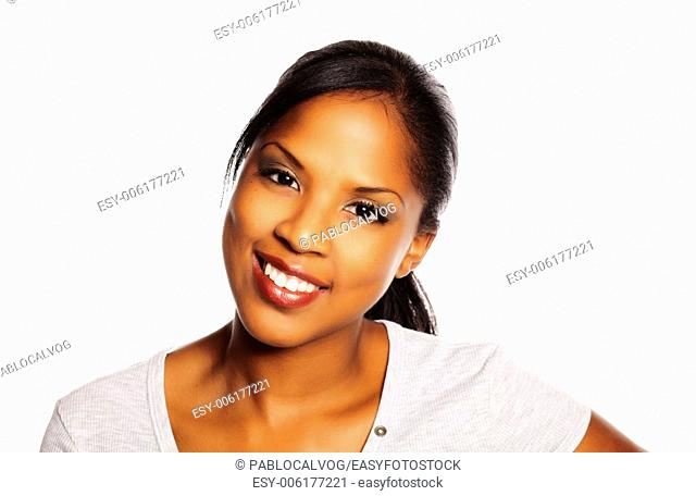 Portrait of a isolated young pretty black woman