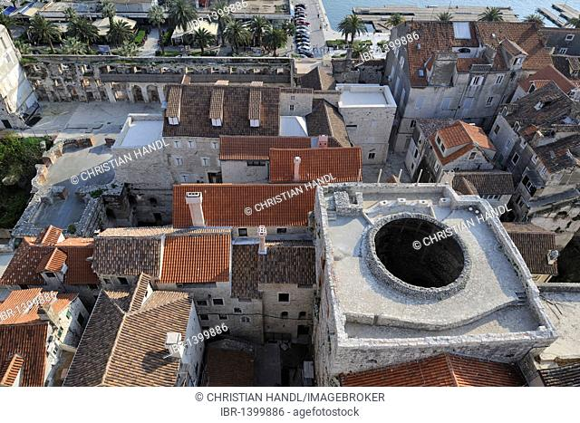 Vestibule of the Diocletian's Palace as seen from the campanile of the Cathedral of St. Duje, Split, Croatia, Europe