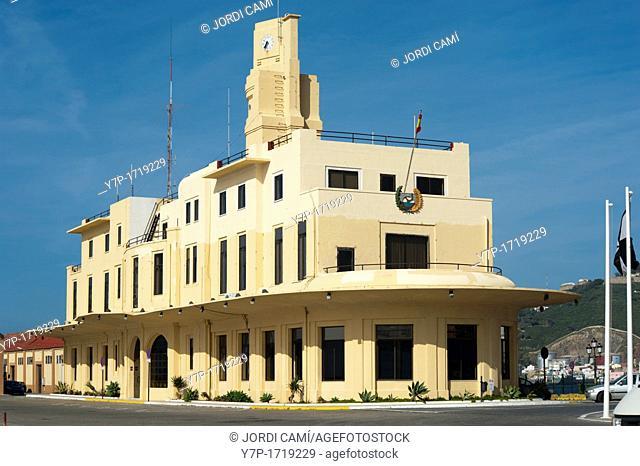 Art deco boat shape building, headquarters of Ceuta Harbor Authority by Manuel Latorre architect  Ceuta  Spain