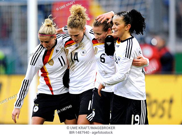Elation of German team after the 2:0 by Simone Laudehr, from left: Anja Mittag, Kim Kulig, Simone Laudehr, Fatmire Bajramaj