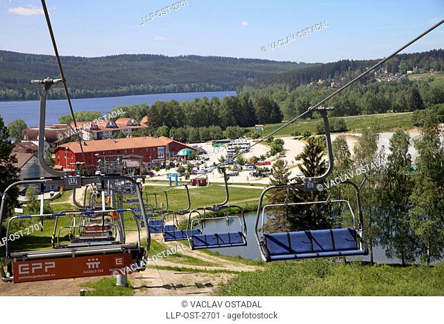 CZ, South Bohemia, Lipno, the funicular to path in the trees