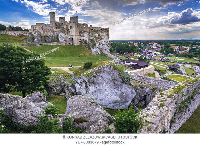 Aerial view of Ogrodzieniec Castle ruins in Podzamcze village, part of the Eagles Nests castle system in Silesian Voivodeship of southern Poland