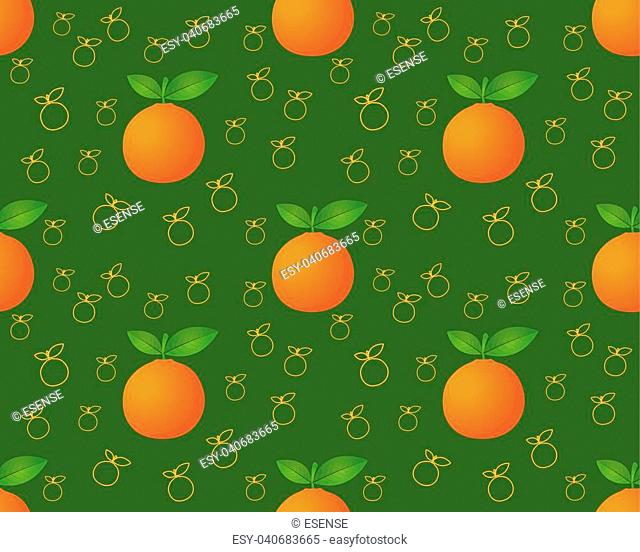 Orange fruit seamless pattern. Ripe orange. Orange with leaves. Juicy fresh orange. Tropical fruit. Healthy food element