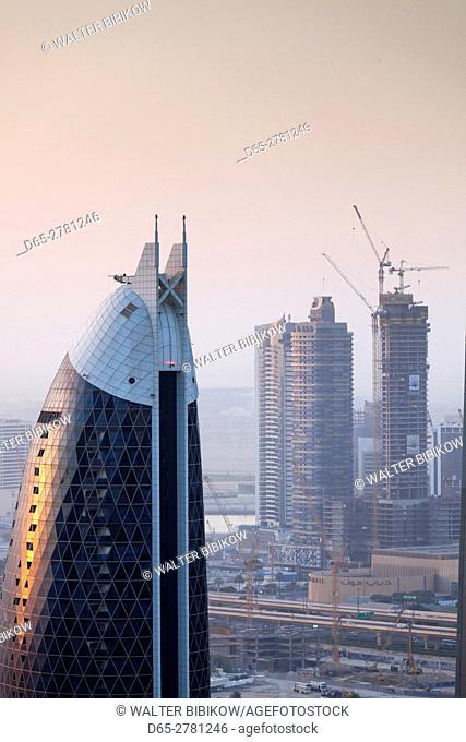 UAE, Dubai, Downtown Dubai, high rise buildings along Sheikh Zayed Road, elevated view