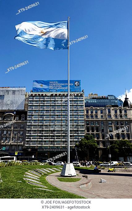 argentine flag flying in plaza republica on avenida 9 de julio Buenos Aires Argentina